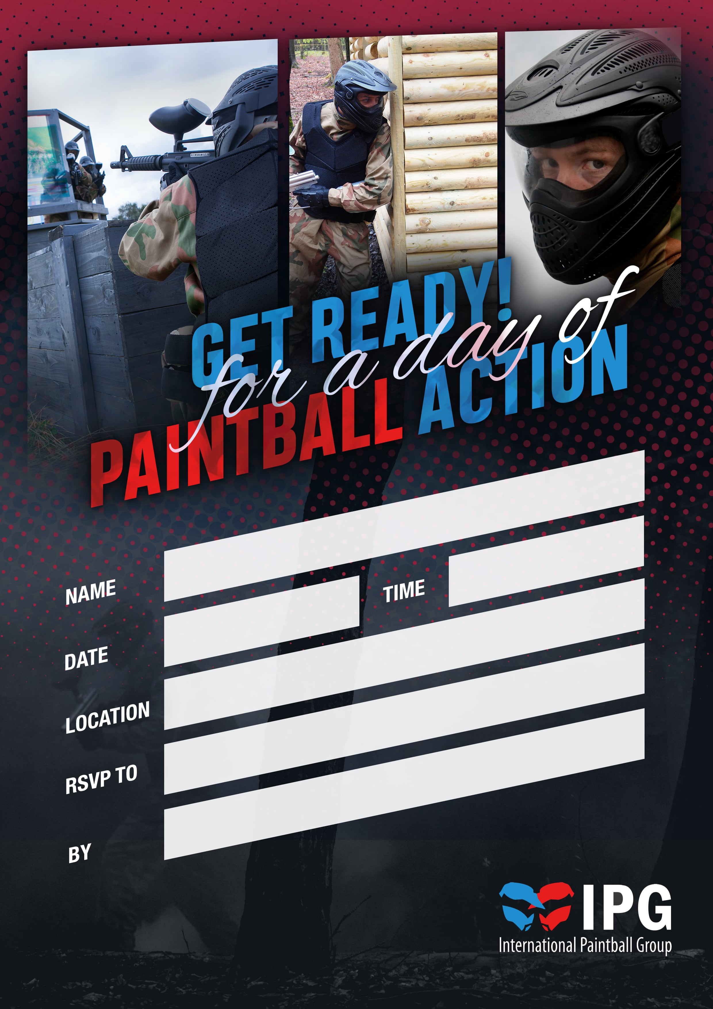 International Paintball Group - Free Birthday Party Invitations